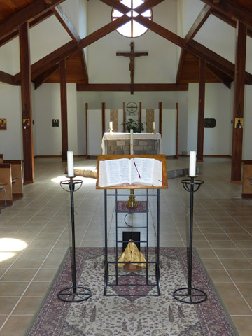 The worship space at St. Anthony's Monastery