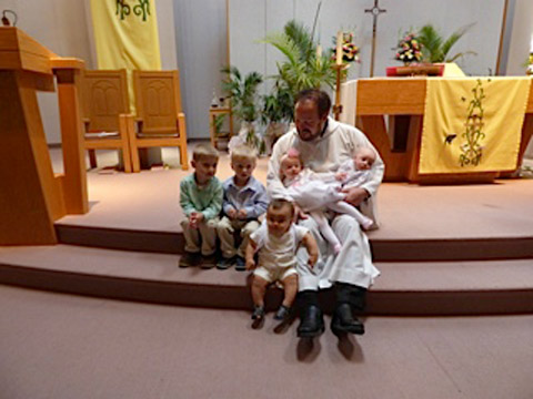 Kason, Carter, Juliette, Luca, and Luke's Baptism