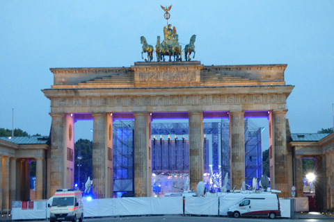 The Brandenburg gate.  A symbol of a divided city. It was closed for the World Cup Soccer game.