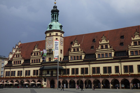 Town square in Leipzig.