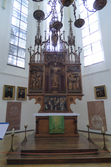 This is the first Lutheran Church in Augsburg.  The Catholic Church holds services  here twice a year. The Lutheran Altar is at one end and the catholic altar is at the other end.  Interestingly the Luther Rose is at the catholic altar.  This picture is the Lutheran Altar.