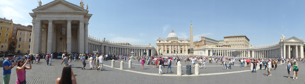 A panoramic view of the center of Vatican City.